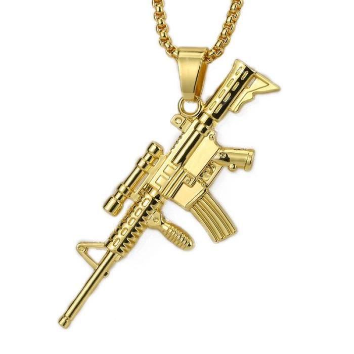 "Unisexe Hip Hop Plaqué Or Strass mitrailleuse Collier Pendentif 28/"" Chaîne"