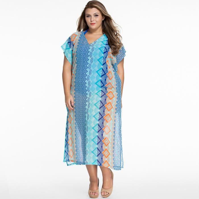Longue Robe De Plage Femme Grande Taille Pareo D Ete Col V Sarong Boheme Tunique Large Blouse Pull Over Achat Vente Robe De Plage 2009764982346 Cdiscount