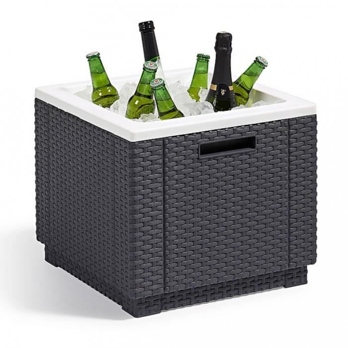 Tables d 39 exterieur allibert glaciere en plastique graphite for Table exterieur plastique noir