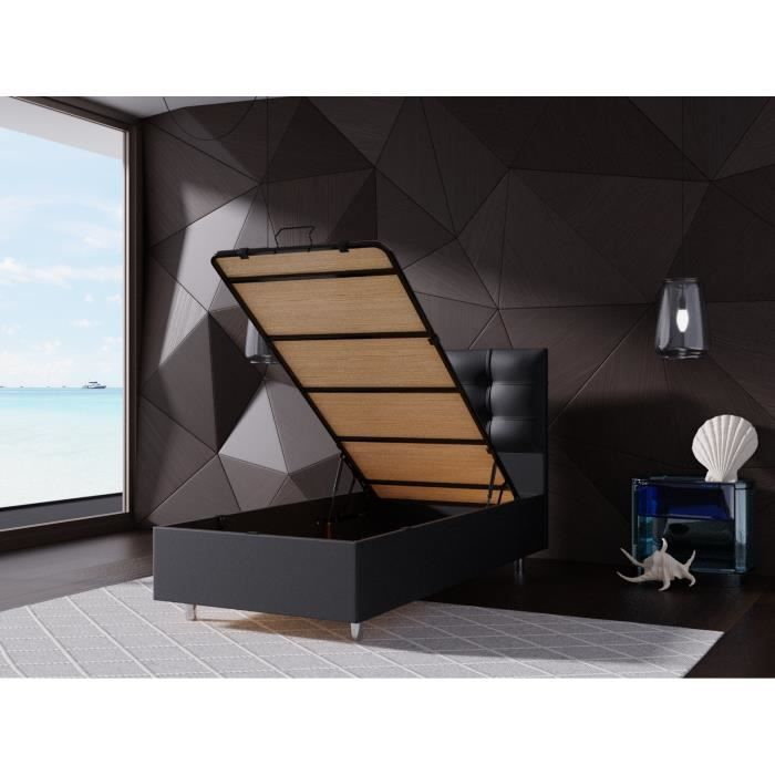 lit coffre 90x190 tete de lit noir achat vente lit. Black Bedroom Furniture Sets. Home Design Ideas