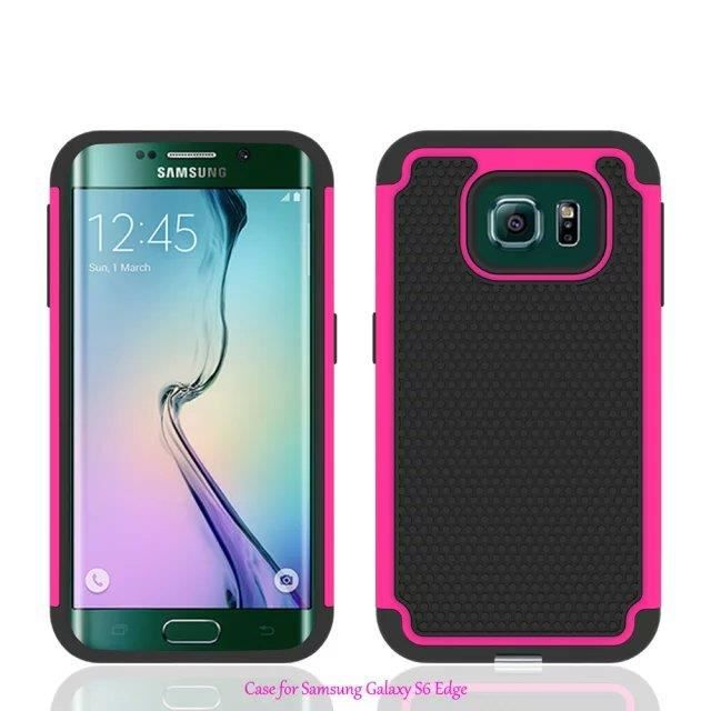 samsung galaxy s6 edge coque defender antichoc bleu rose. Black Bedroom Furniture Sets. Home Design Ideas