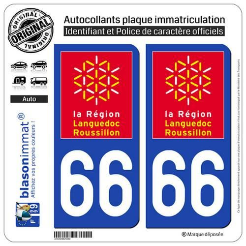 2 Stickers autocollant plaque immatriculation 66 Languedoc Roussillon LogoType