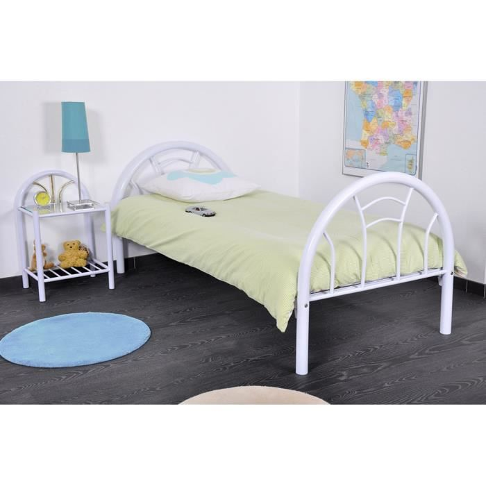 lit enfant 90x190 en m tal blanc sommier cercle achat vente lit complet lit enfant 90x190. Black Bedroom Furniture Sets. Home Design Ideas