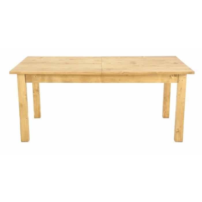 Table repas pin massif 200 cm 2 allonges 50 cm workshop for Table cuisine pin massif