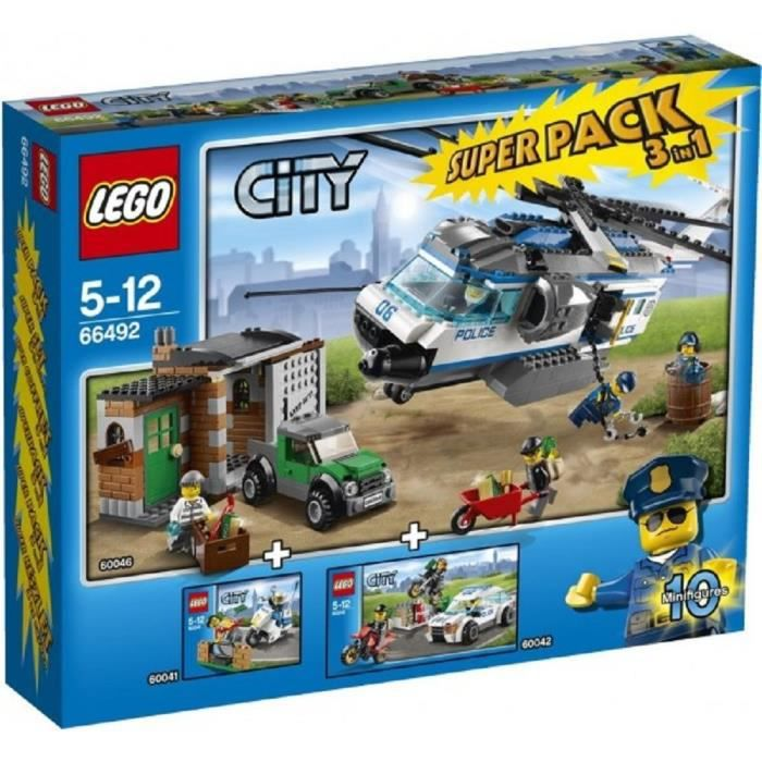 lego city police super pack 3 en 1 achat vente assemblage construction cdiscount. Black Bedroom Furniture Sets. Home Design Ideas