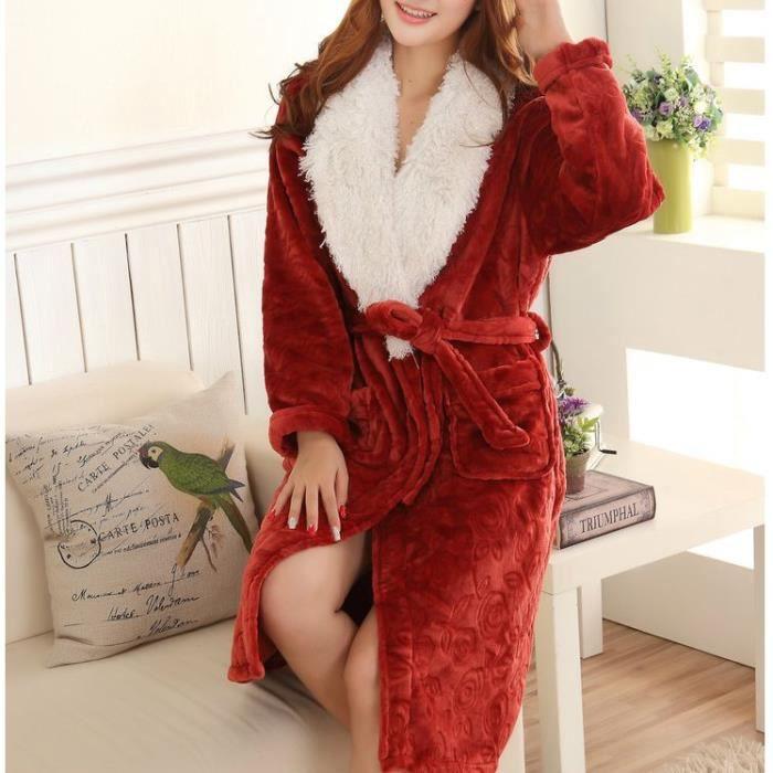 Robe De Chambre Polaire Fourrure Femme Rouge Achat Vente Robe De Chambre Cdiscount