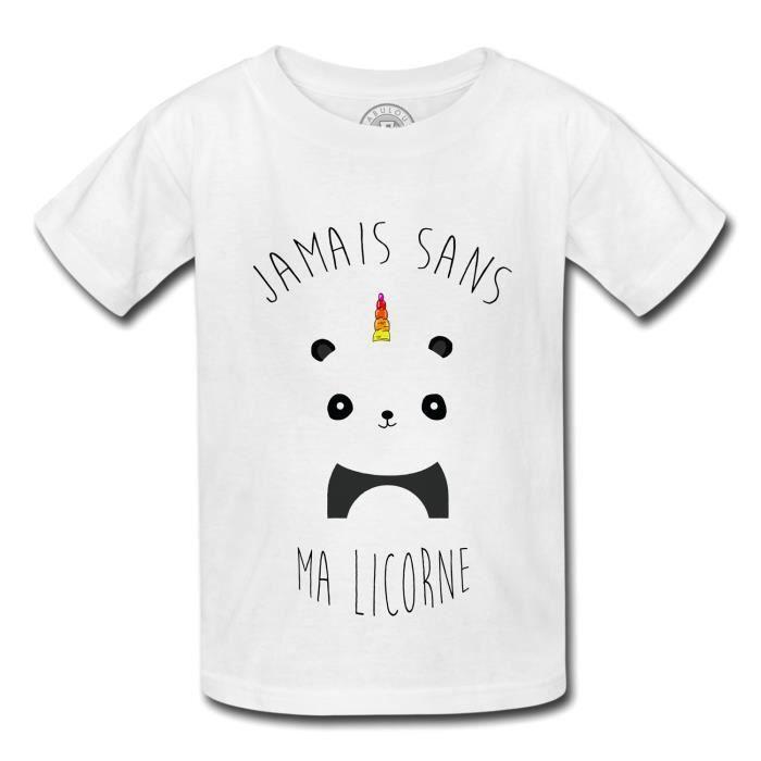 100% top quality meet huge sale T-Shirt Enfant Jamais Sans ma Licorne Humour Dessin Panda avec Corne  Arc-en-ciel Mignon Animaux