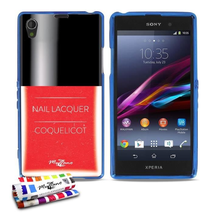 coque souple bleue muzzano pour sony xperia z1 motif vernis coquelicot acha. Black Bedroom Furniture Sets. Home Design Ideas