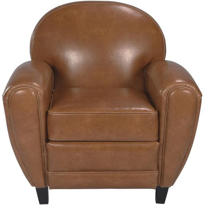 Fauteuil Club cuir camel Achat Vente fauteuil Cdiscount