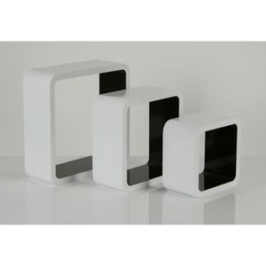 etagere murale blanc brillant achat vente etagere. Black Bedroom Furniture Sets. Home Design Ideas