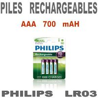 PILES Piles rechargeables Philips LR03 AAA