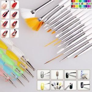 VERNIS A ONGLES Kit 20 pinceaux Dotting Tool pour nail art