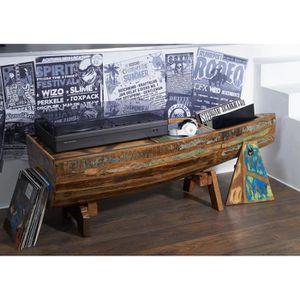 TABLE BASSE Table basse bateau - Bois massif recyclé multicolo
