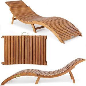 CHAISE LONGUE Casaria - Chaise longue pliable en bois d'acacia c