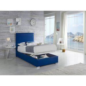 STRUCTURE DE LIT Lit coffre PEAKY 90x190-200cm en PU bleu - L 200 x