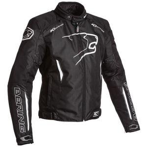 BLOUSON - VESTE BERING Blouson Moto Tissu Eskadrille Noir et Blanc