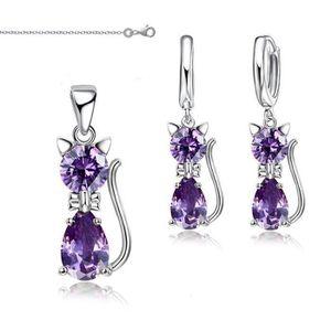 PARURE Parure Bijoux Chat Cristal Autrichien Violet Argen