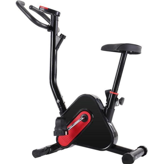 Vélo d'appartement - charge maximale 120 kg - Noir rouge