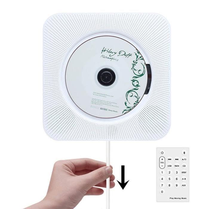 Lecteur CD enfant,Lecteur CD mural Bluetooth Portable Home Audio Boombox avec télécommande Radio FM haut parleurs HiFi - Type white