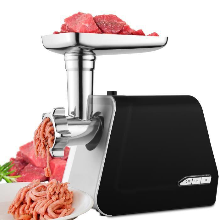 Hachoir à viande polyvalent, Tube de Remplissage de Saucisse, avec 3 Plaques de Coupe en acier inoxydable, Puissance de 500 W