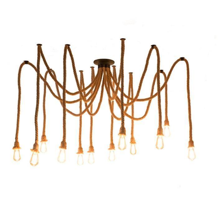 12 Tête Lustre Suspension Vintage Araignée E27 Plafonnier pour Chambre 2m Noir Sans ampoule