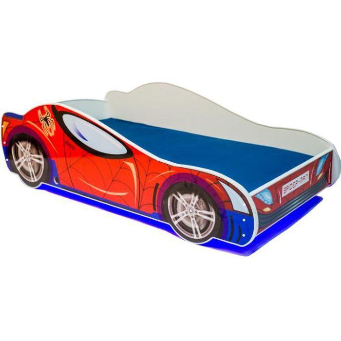 Lit enfant voiture LED-Spider-140x70+sommier + matelas