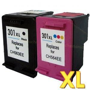 Pack 2 cartouches compatibles HP 301 XL - ENVY 4505 - 1 noire et 1 couleurs