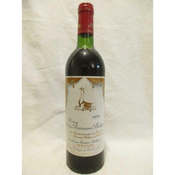 pauillac château mouton baronne philippe de rothschild grand cru classé rouge 1980 - bordeaux france