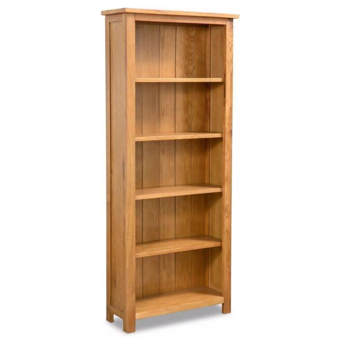 Bibliothèque étagère de rangement à 5 étagères 60 x 22,5 x 140 cm Bois de chêne massif