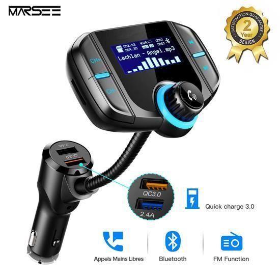 Transmetteur FM Bluetooth 4.2, Kit Main Libre sans Fil, Adaptateur Autoradio Chargeur USB Voiture,3.5mm Port Audio, Carte SD MP3