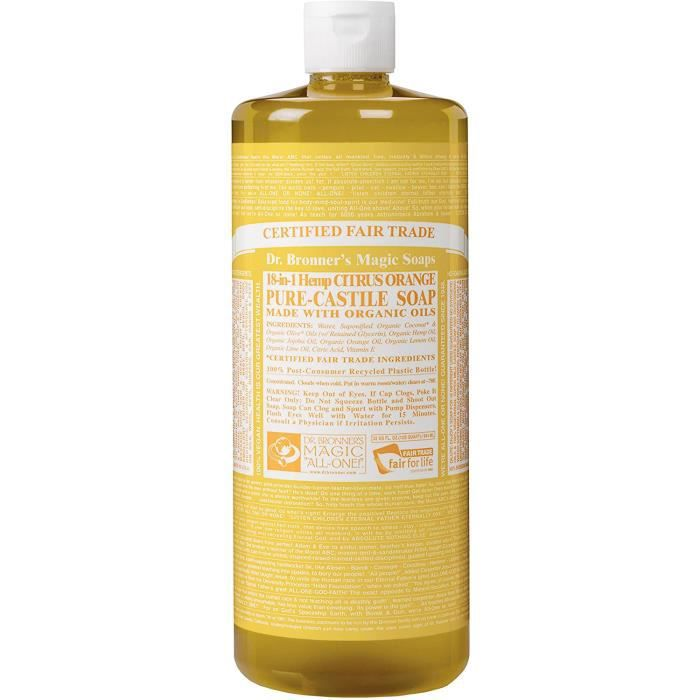 Bain, savons et soins du corps Dr Bonners - Castille Savon Liquide Orange Bio aux agrumes Dr. Bronner 32 oz 381476