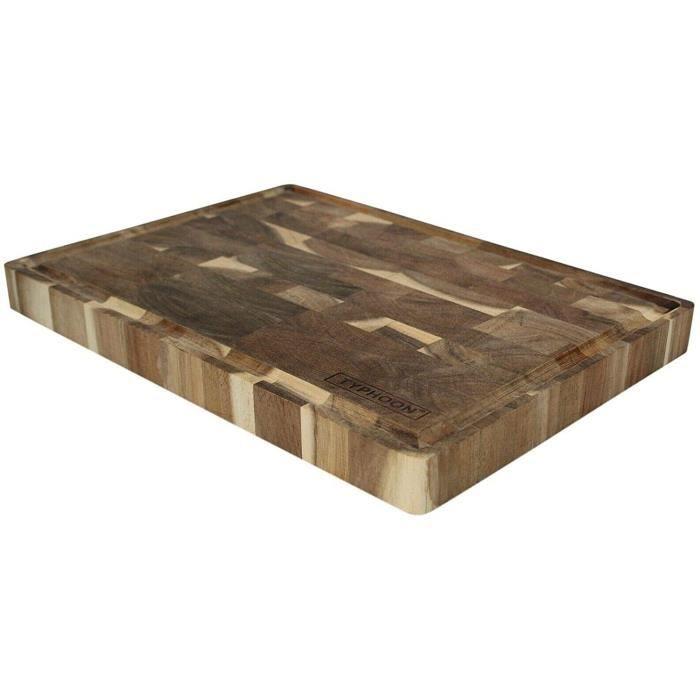 Planche à Découper de Boucher Bloc Grain Fin Acacia Bois Dur 35cm x 25cm