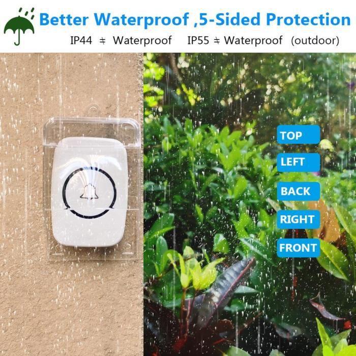 Couvercle en plastique étanche sûr et pratique pour sonnette sans fil porte cloche anneau carillon bouton Transparent 11 MC8354