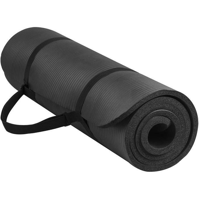 Outado® Tapis de Yoga Natte de Gym Insipide extra épais 183 X 61 X 1cm Tapis de sport Gym Tapis de fitness +Sangle de transport Noir