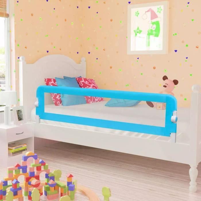 Barrière De Lit Enfants Bébés Protection Bord De Lit Pour Sécurité 150 x 42 cm Bleu -PAI