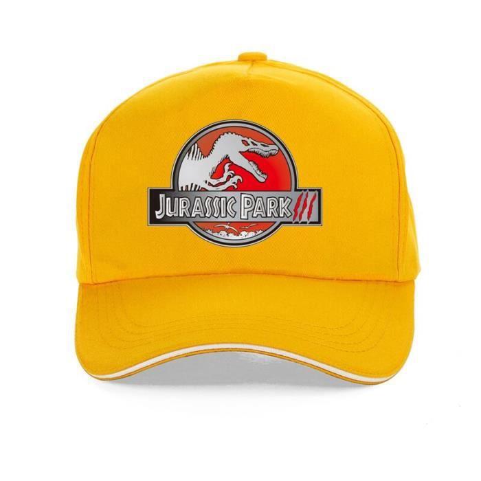 Casquette de Baseball JURASSIC PARK imprimé, Cool, casquette de dessin animé, 100% coton, style Hip YELLOW