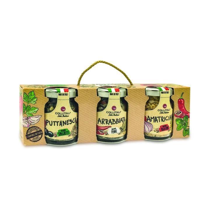 COLLITALI PASTISSIME : recette PUTTANESCA (spaghetti) 16 g / AMATRICIANA (rigatoni) 13 g / ARRABBIATA ( penne) 13 g
