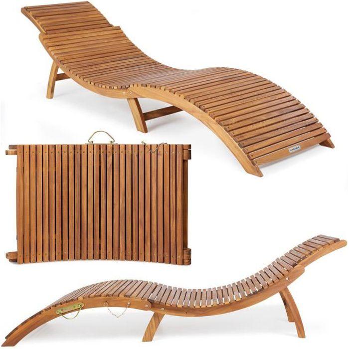 Casaria - Chaise longue pliable en bois d'acacia certifié FSC® - Bain de soleil pliant avec appuie-tête réglable - Jardin, terrasse