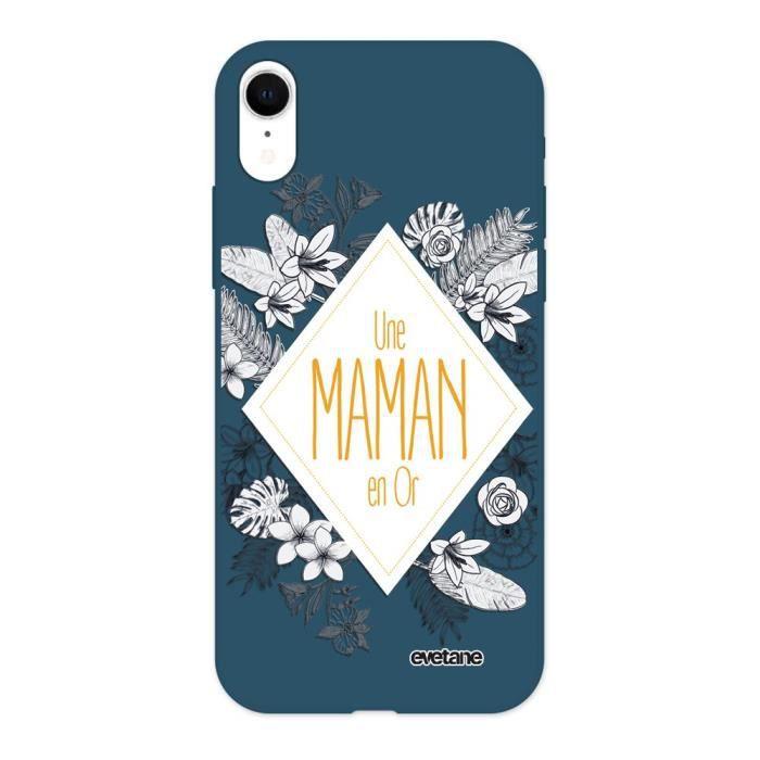 Coque pour iPhone Xr Silicone Liquide Douce bleu marine Une Maman en or Ecriture Tendance et Design Evetane