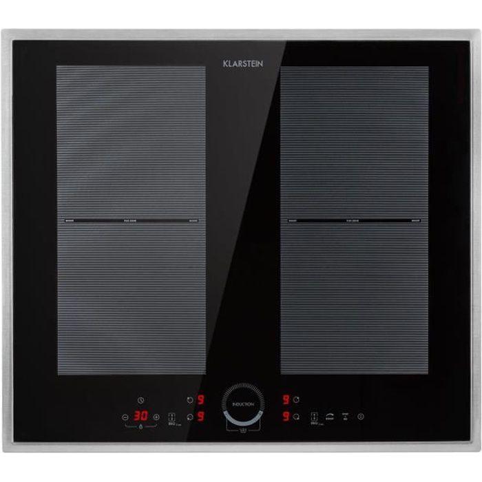 Klarstein Delicatessa 60 Prime - Plaque de cuisson á induction encastrable 4 zones, vitrocéramique - Noir