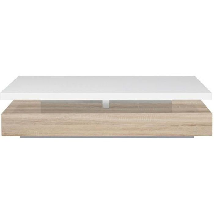 Miliboo - Table basse design laquée blanc brillant et bois SONOMA