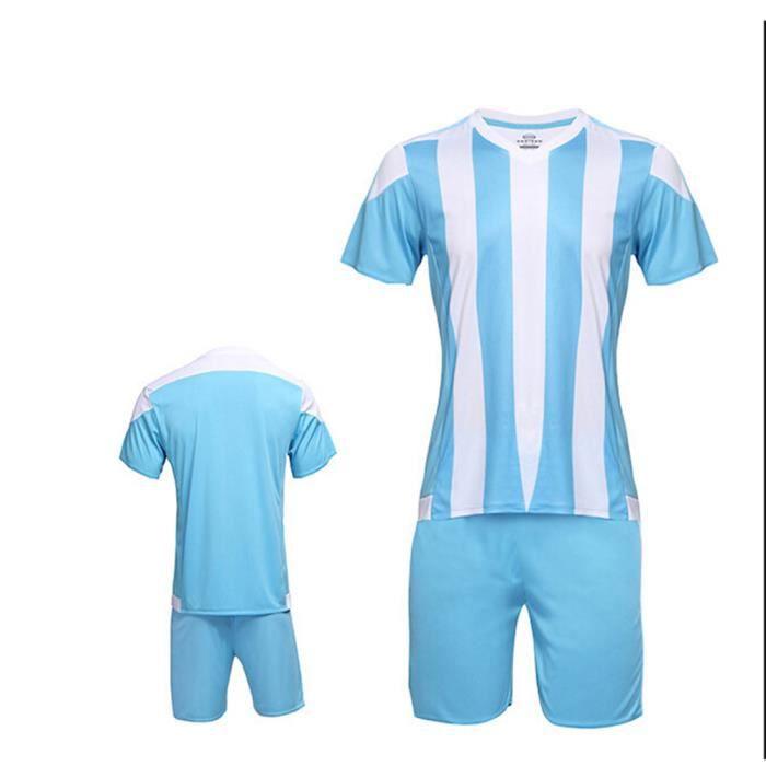 Maillot et culotte de football ensemble-Design personnalisé unique- Unisexe-Rayé bicolore- Bleu et Blanc