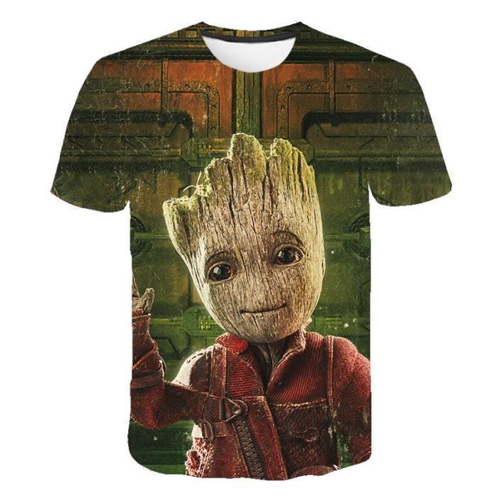 T-shirts hommes,T-shirt manches courtes homme et femme, imprimé en 3D du film le gardien du super-héros Groot, nouvelle collection