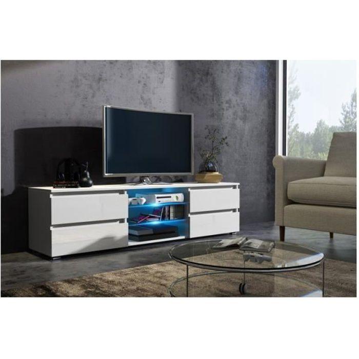 Meuble tv 150 cm blanc mat et façade laquée