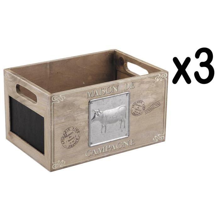 Lot de 3 caisses de rangement en bois et métal - Dim : 25 x 17 x 14 cm