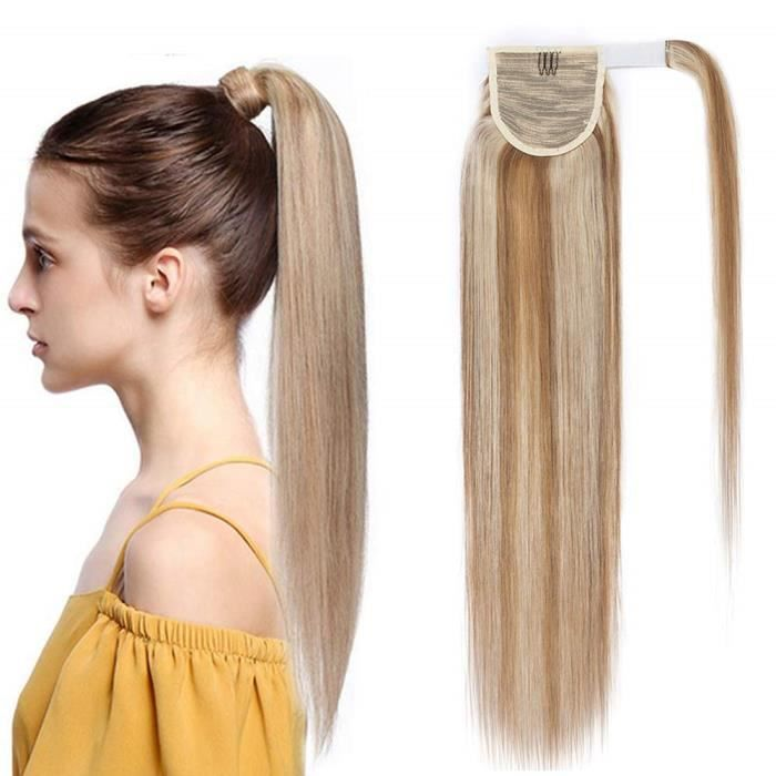 Extension En Queue de Cheval Lisse Cheveux Humain Naturel Clip In Ponytail Extension Wrap Around Facile A Porter - 20