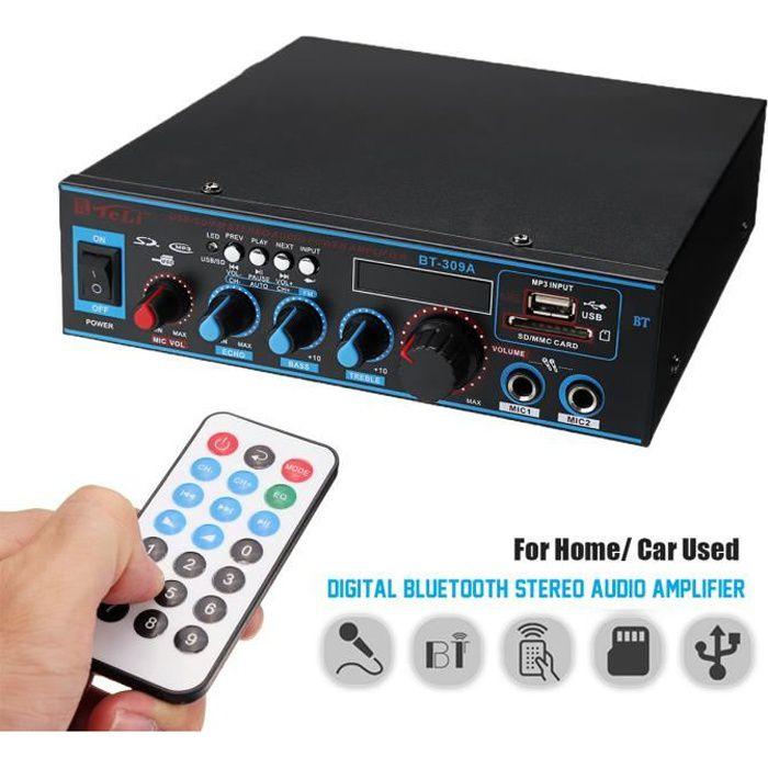 TEMPSA Bluetooth Amplificateur Hi-Fi Stéréo 12V / 220V FM USB SD MP3 Audio Lecteur - Ampli Maison Voiture Auto