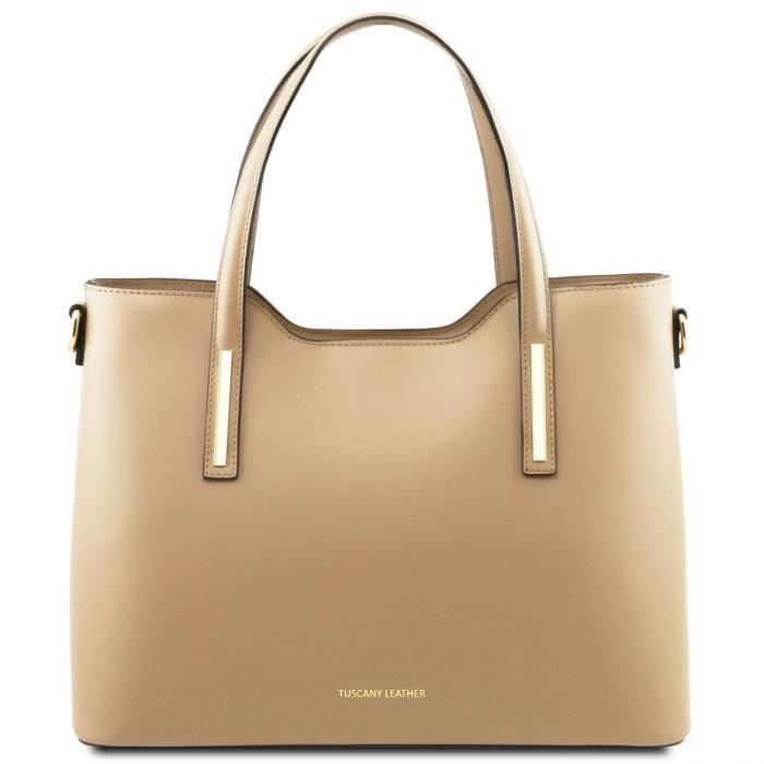 Tuscany Leather - Olimpia - Sac cabas en cuir - Champagne (TL141412)