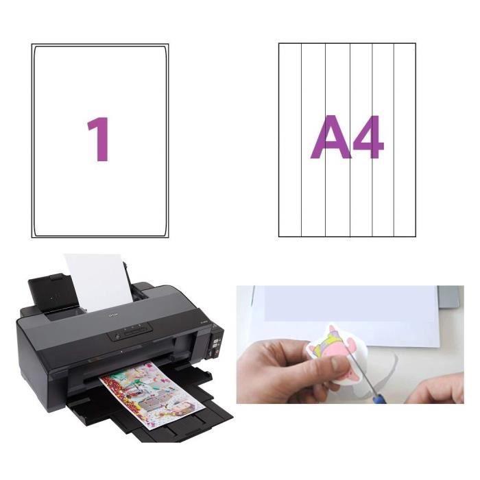 500 feuilles Papier adhésif blanc A4 autocollant pour créer imprimer et découper facilement des Stickers, autocollants, scrapbooking