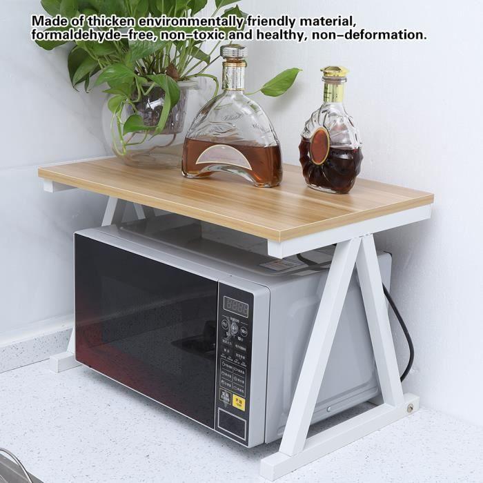 2 Couches Étagère Four à Micro-ondes Etagère De Cuisine Multifonctions Blanc 57*38*38cm HB022